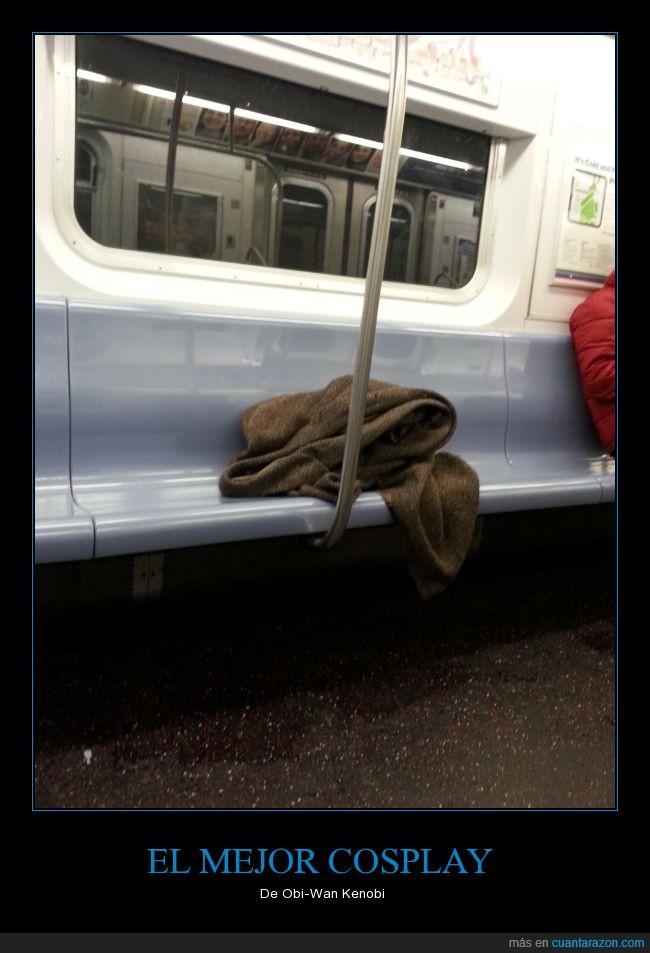 abrigo,asiento,Cosplay,metro,Oki Wan Kenobi,Star Wars,subterráneo