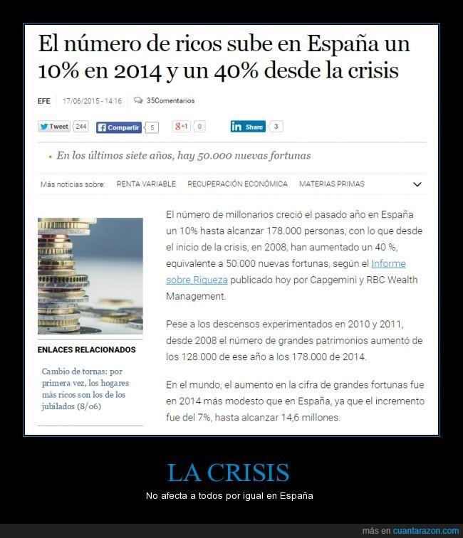 crisis,desigualdad,dinero,economía,España,millonario,rico,Ricos