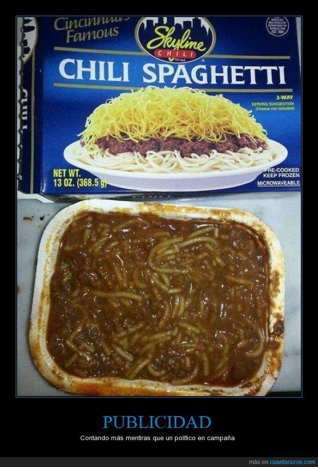 asco,carne,espaguetis,falete,parecen gusanos,publicidad,salsa,spaghetti