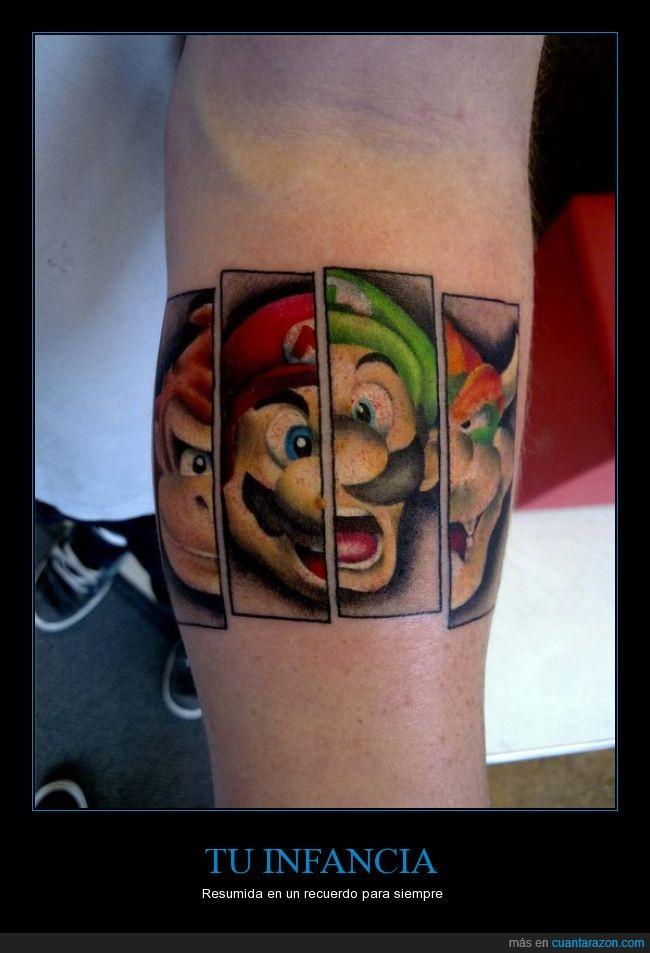 Bowser,brazo,Donkey Kong,luigi,mario,nintendo,tattoo,tatuajes
