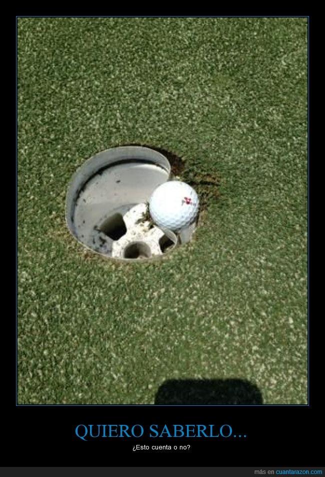 alrededor,doblar,entrar,fail,golf,hoyo en uno,metal,meter,Pelota,romper,tiro