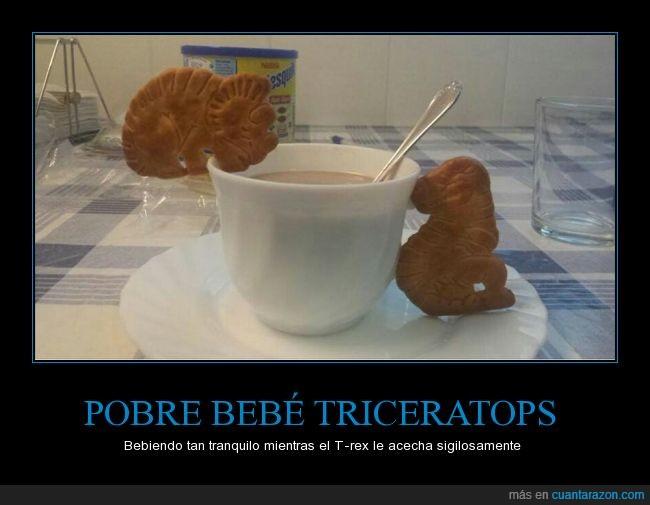 animales,café,desayunos,dinosaurios,Galletas,humor,juego,t-rex,taza,triceratops