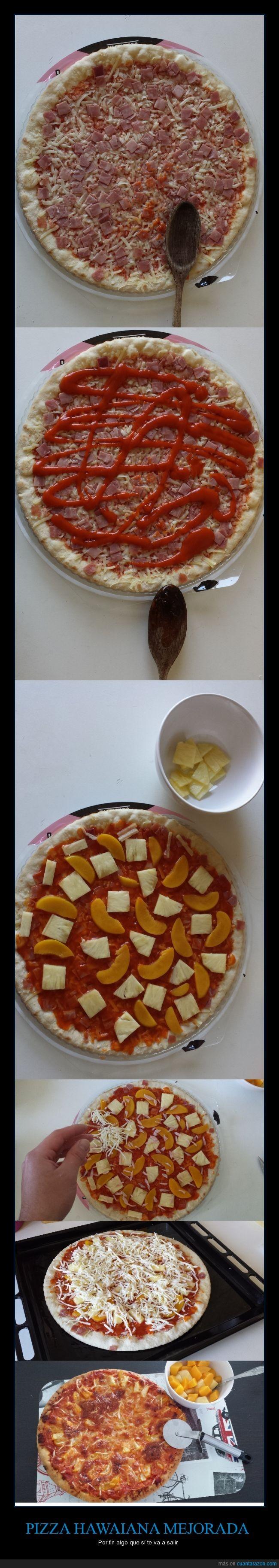 20 minutos,fácil,jamón,melocotón,piña,pizza,pizza hawaiana,por fin algo que sí puedes hacer,práctico,queso mozzarella