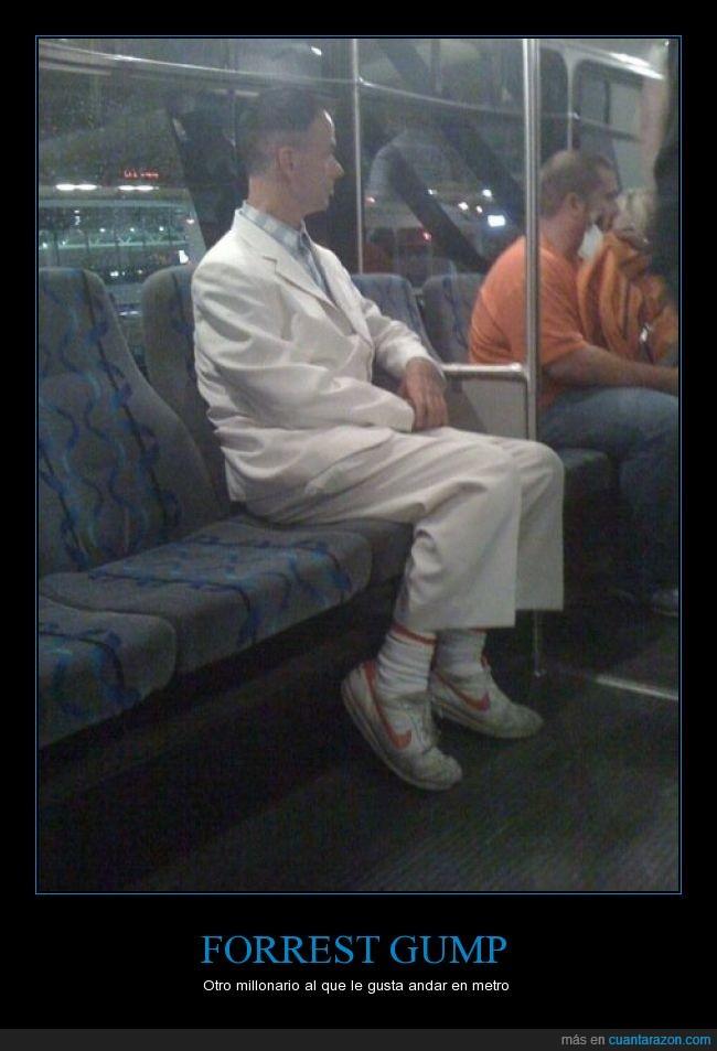 bus,doble,Forrest Gump,hombre,metro,Millonario,parecido,rico,Tom Hanks,transporte publico,yo compraria el metro y lo pongo gratis