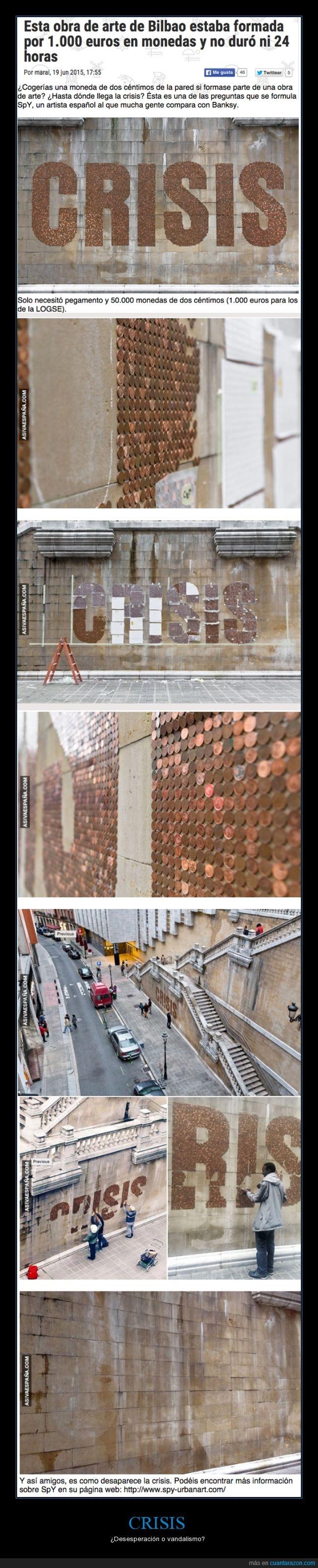 céntimo,crisis,españa,gente,monedas,obra de arte,pared