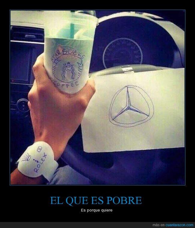 auto,café,coche,cutre,dibujos,humor,imitacion,Mercedes,papel,Reloj,Rolex,rolex del palo,starbucks,volante