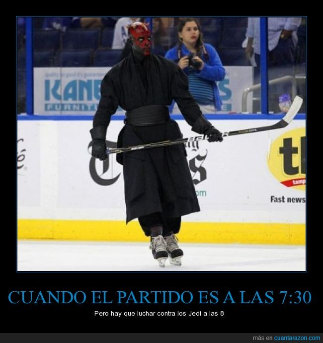 cosplay,Darth Maul,disfraz,hockey,humor,patinaje.hielo,Star Wars