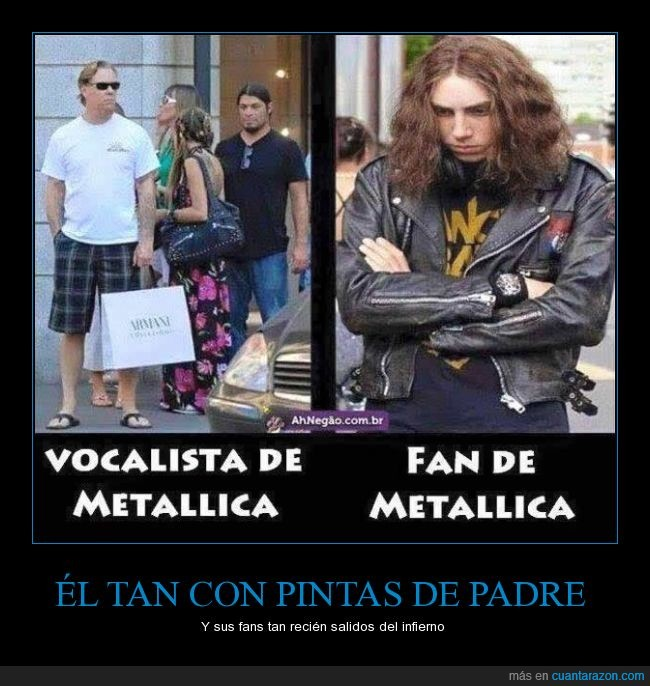armani,cantante,chaqueta,chupa,cuero,diferencia,fan,heavy,James Hetfield,metalero,Metallica,pelo,rock,vocalista