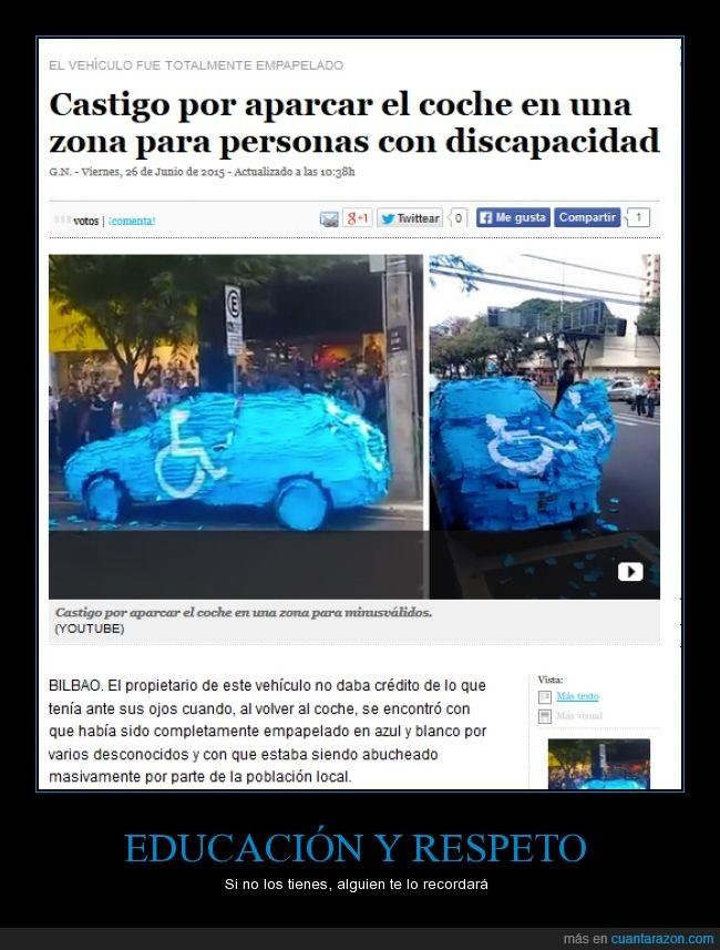 aparcar,azul,brasil,coche,educación,gente,minusvalido,plaza,respeto