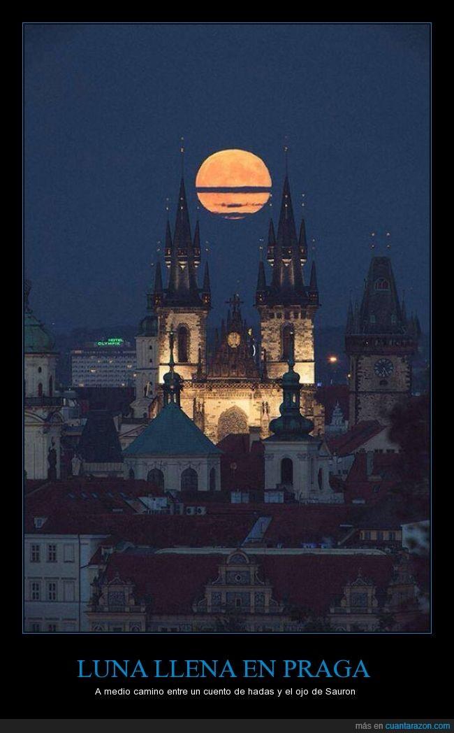 castillo,llena,luna,paisaje,praga