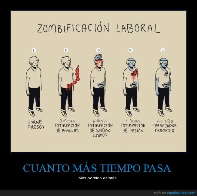 agallas,cerebro,empleado,empleo,meses,tiempo,trabajador,trabajo,zombie