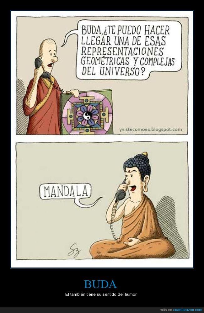 ambos usan Echo Logico Retro Handset.,Buda,chiste,manda el mandala,monje
