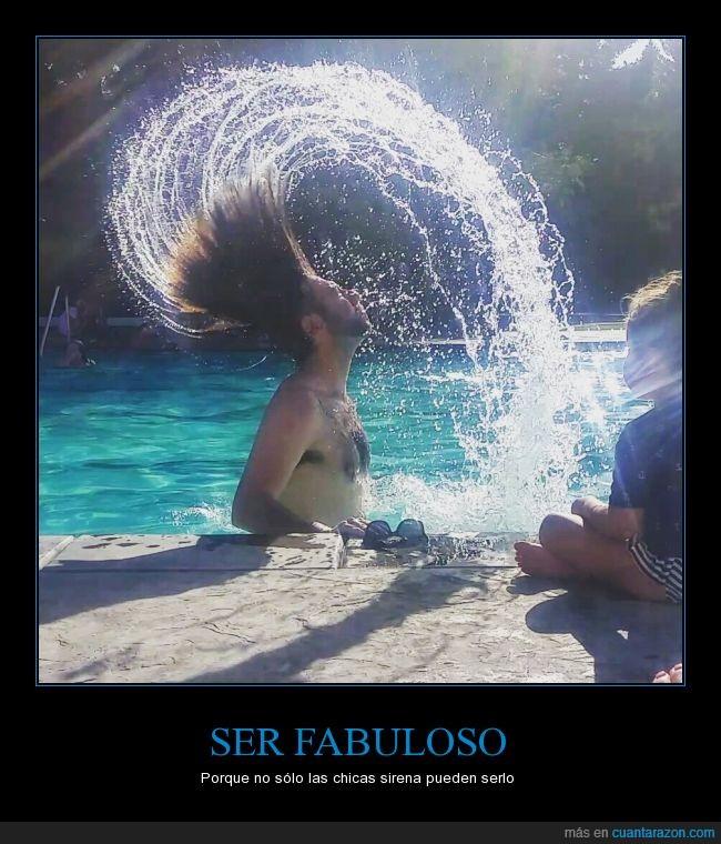 agua,curva,fabuloso,mojado,pelazo,pelo,piscina,sirena,sireno,tritón