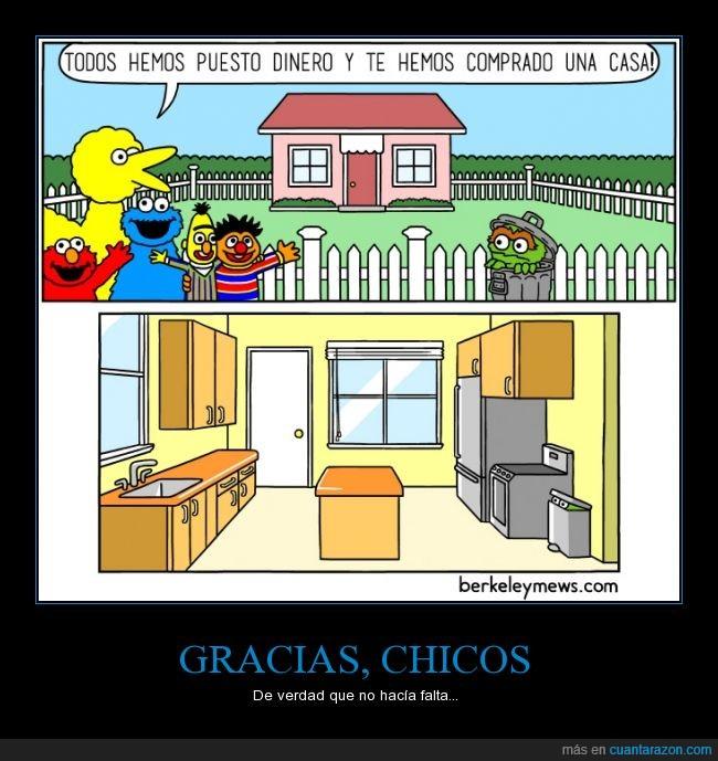 Barrio Sesamo,basura,cocina,dinero,Gruñón,Oscar,papelera,poner,Sesame Street