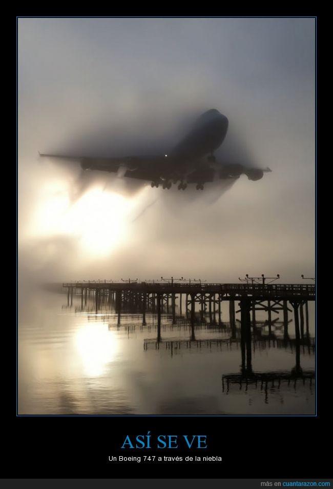 747,aterrizaje,avion,boeing,despegue,niebla,nubes