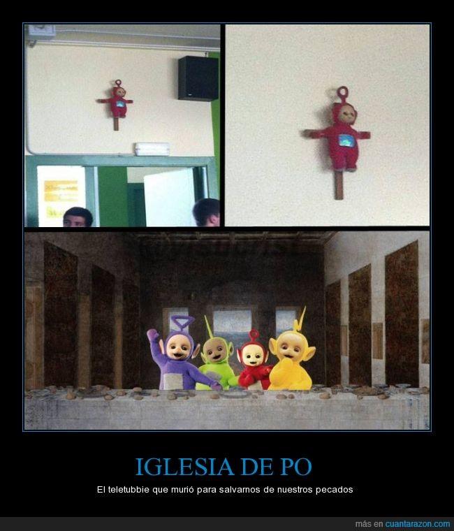cristo,cruz,iglesia de po,jesus,muñeco,peluche,po crucificado,religión,teletubbies,última cena