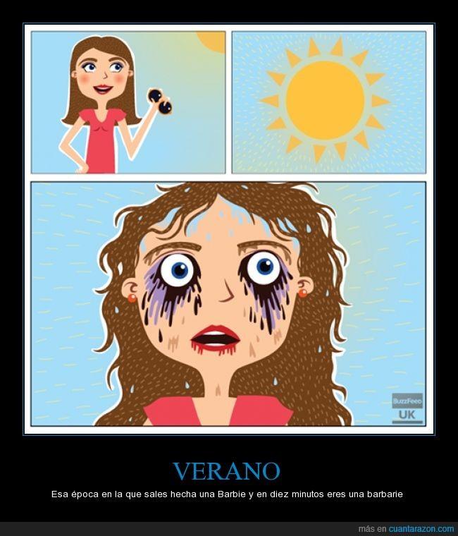 asco,Calor,maquillaje,pelo,Sol,sudar,sudor,Verano