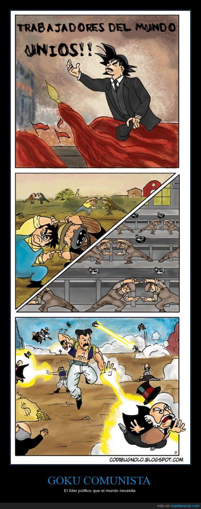 campesino,dragon ball,Fusión,Goku,Manifiesto del Partido Comunista,Mr Monopoly,union