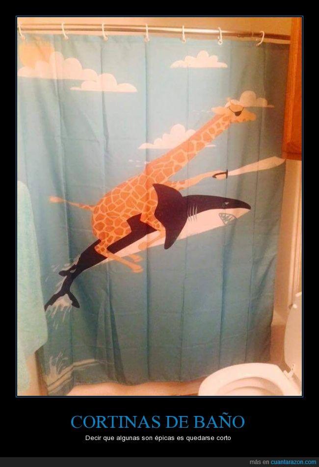 animales,ducha,encima,epico,Jirafa,montar,pirata cortina,tiburón,tuerto