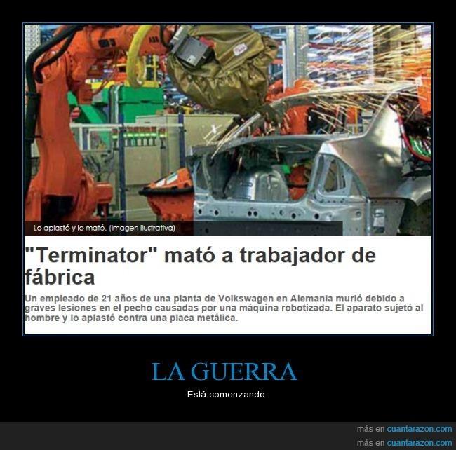 accidente,coches,fabrica,matar,robot,terminator,volkswagen
