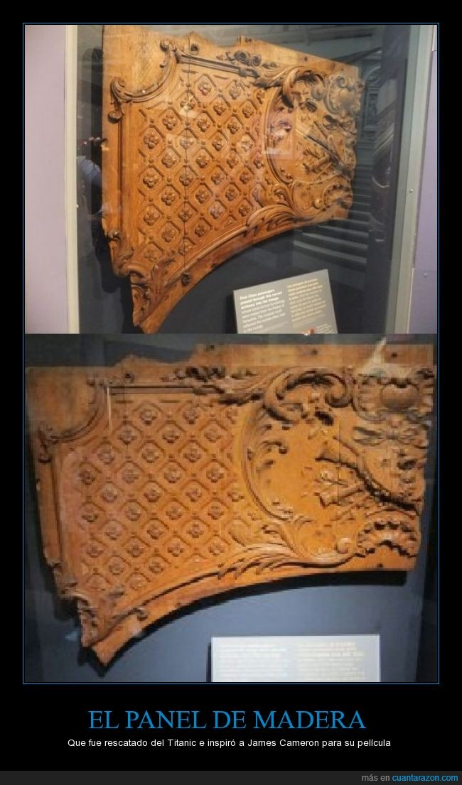 James Cameron,Panel de madera tallado,película,posiblemente un panel decorativo o un cabecero de cama,rescatado,Titanic