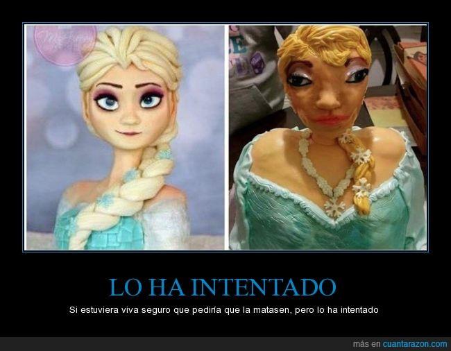 cara,Disney,Elsa,fea,Frozen,imitar,intentar,ojos,pastel