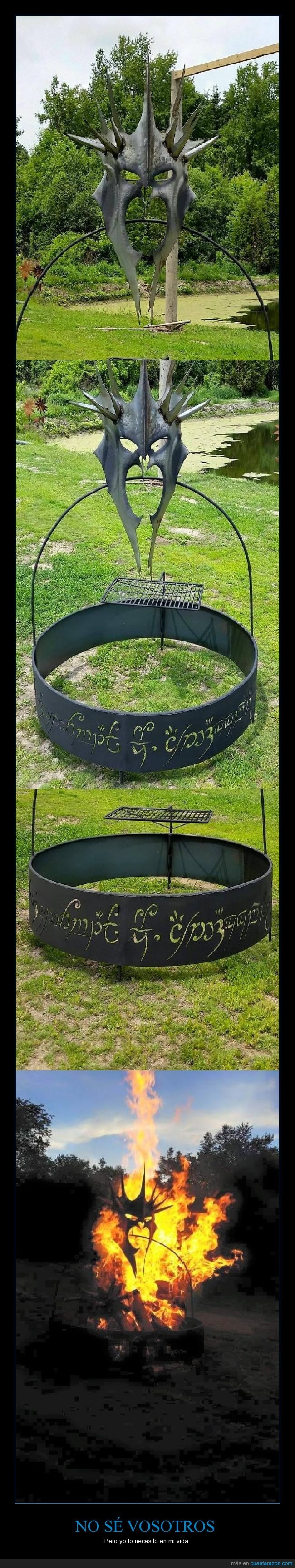 anillo,barbacoa,casco,El señor de los anillos,fuegazo,fuego,hoguera,metak,Nazgul