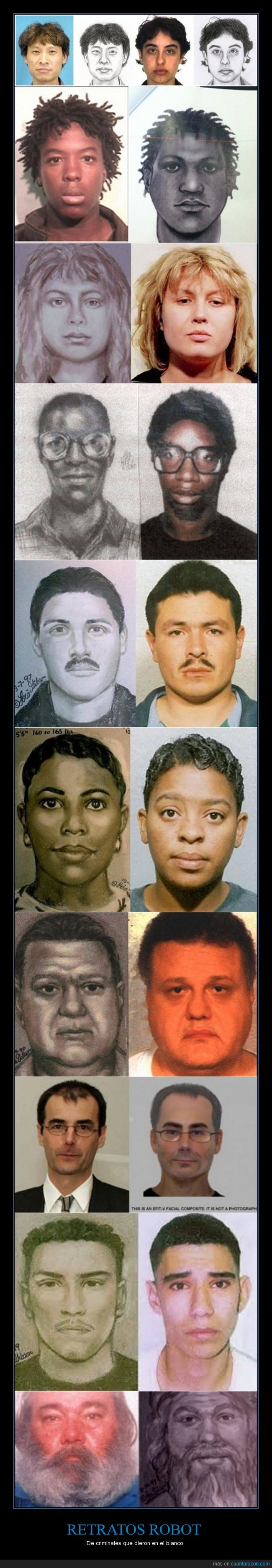 criminales,dar en el blanco,muy parecidos,Retratos hablados,técnica artística forense
