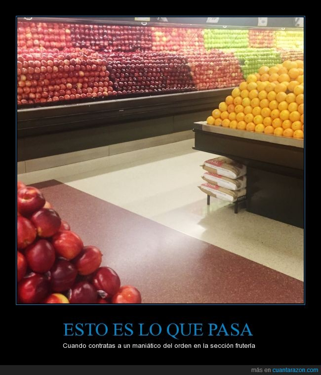 color,fruta,frutería,maniatico,manzana,naranja,ocd,orden,supermercado,toc