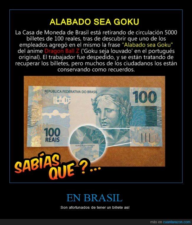 afortunado,billete,Brasil,circulación,empleado,Goku,louvado,suerte