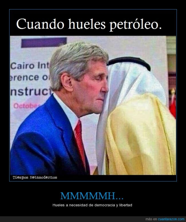 arabe,beso,democracia,EEUU,gasolina,jeque,libertad,medio oriente,oler,petroleo