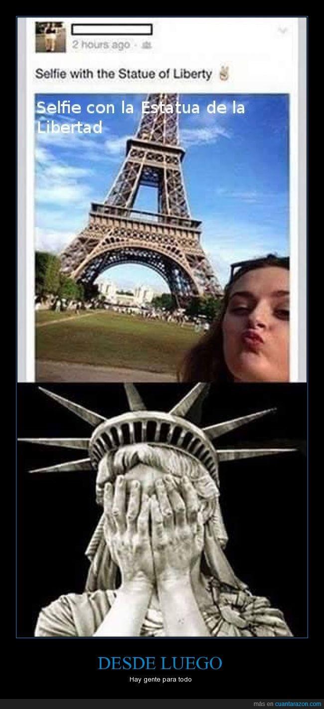 eeuu,estados unidos,Estatua de la Libertad,francia,geografia,lista,nueva york,parís,selfie,Torre Eiffel,vacaciones