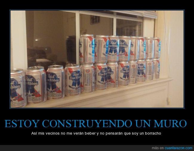 bebida ventana,Cerveza,construir,latas,muro,pabst blue ribbon,tapar