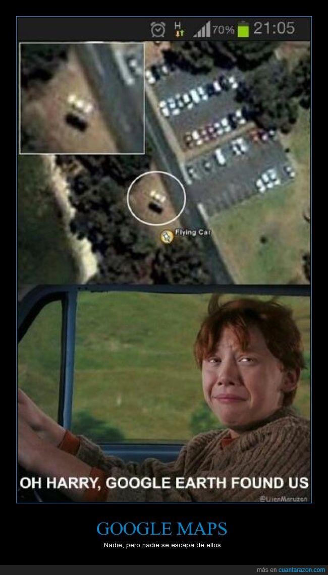 coche volador,escapar,google,Harry Potter,LOL,mapas,Maps,Ron