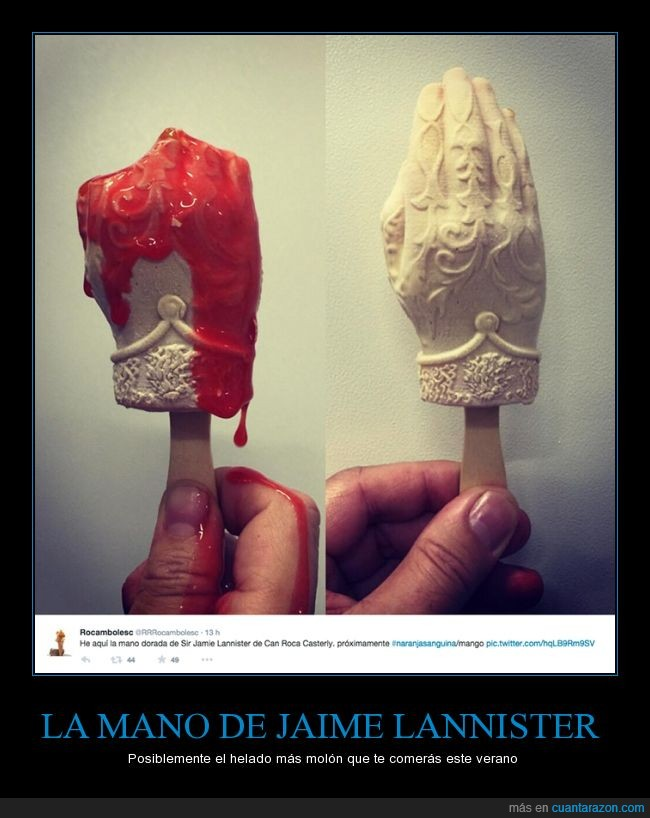 comer,dorada,game of thrones,got,Jaime Lannister,jdt,juego de tronos,mano,naranja,sangre