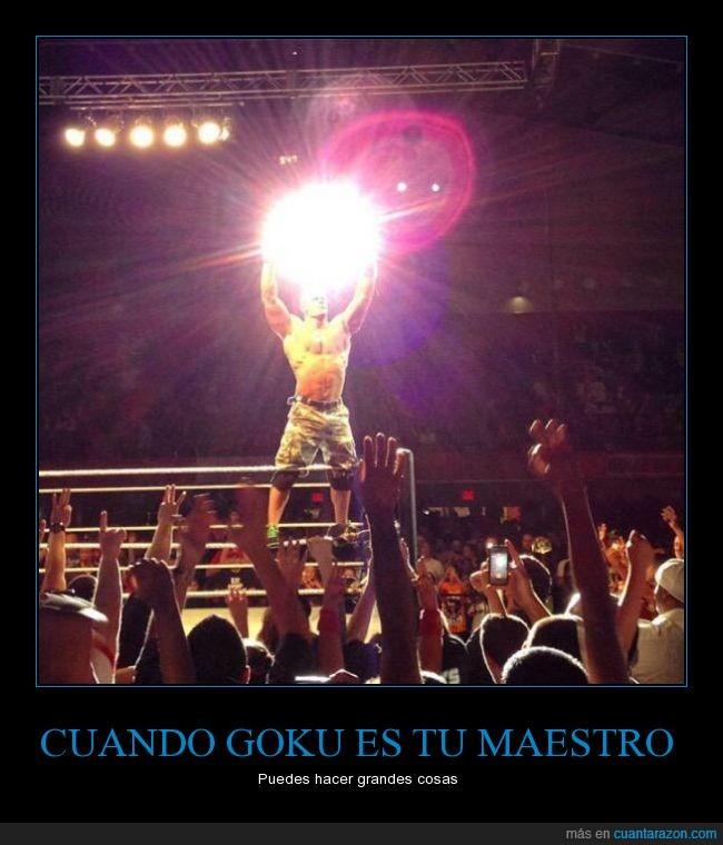 bola,dama,energía,genki,genki dama,genkidama,Goku,John Cena,lucha,lucha libre,luz,maestro,manos,pelea,poder