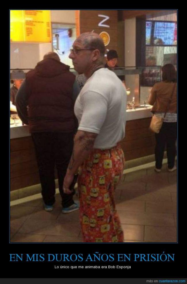 Bob Esponja,calvo,carcel,duro,miedo,pantalones,presidiario,tattoo,tatuado,tatuajes