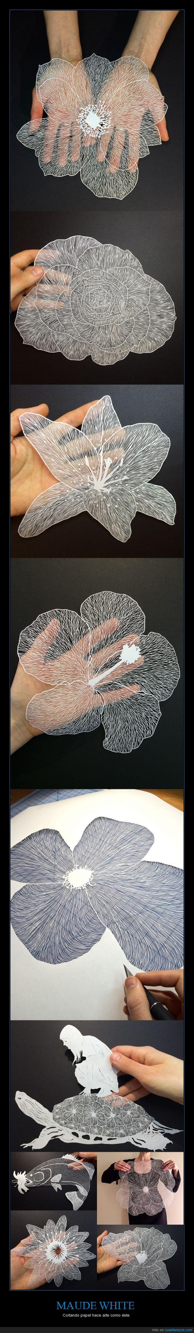 arte,cortar,cutter,delicado,flor,hoja,Maude White,papel,tortuga