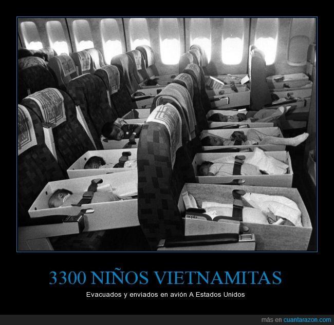 adoptar,avión,Bebés,evacuación,guerra,huérfanos,Vietnam