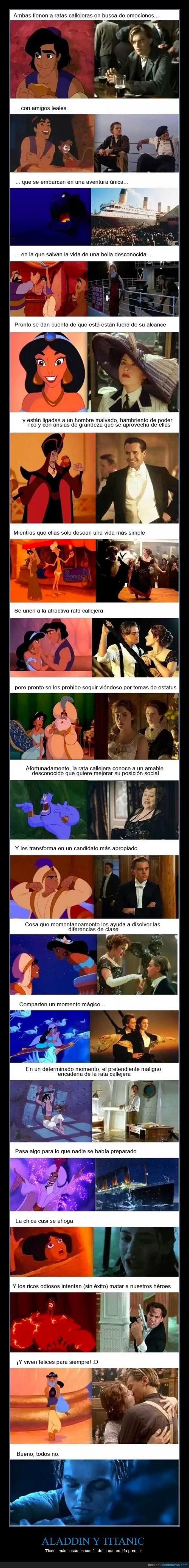 Aladdin,genio,Jack,parecido,Rose,Titanic