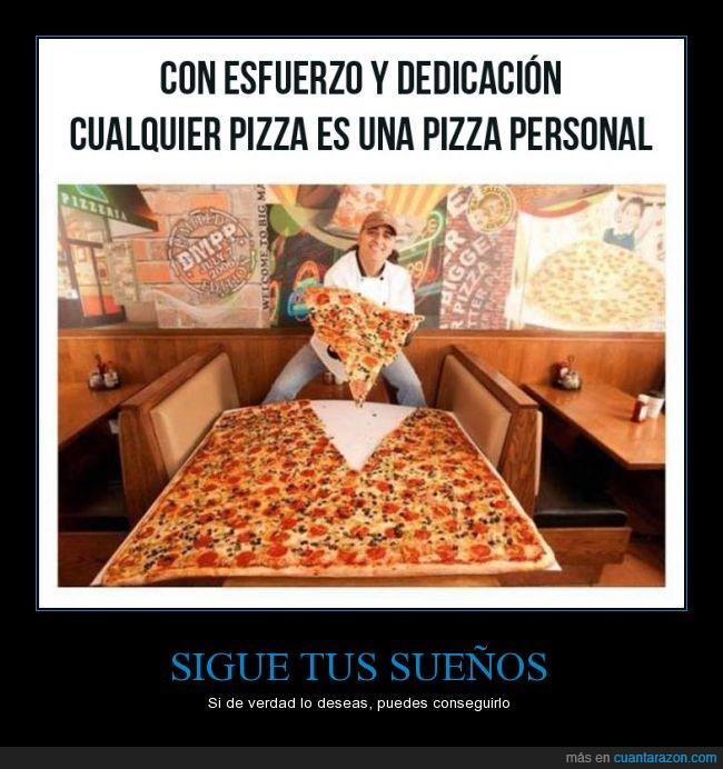 comer,comer como si no hubiera mañana,comida,gigante,individual,pizza