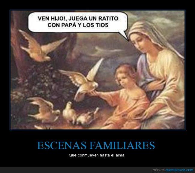 espíritu santo,Jesús,Maria,niño,padre,palomas,papa,Religión,tios