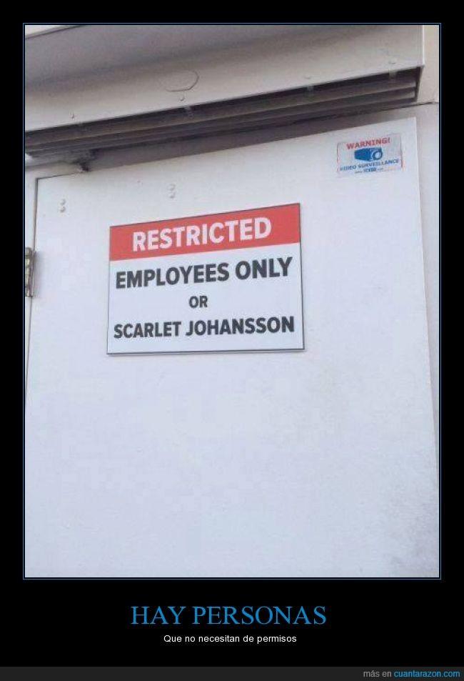 acceso,empleados,Letreros,puerta,restringido,Scarlet Johansson