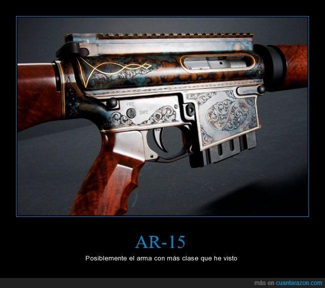 AR-15,arma,decorado,grabado,madera,metal,repetición,subametralladora,subfusil