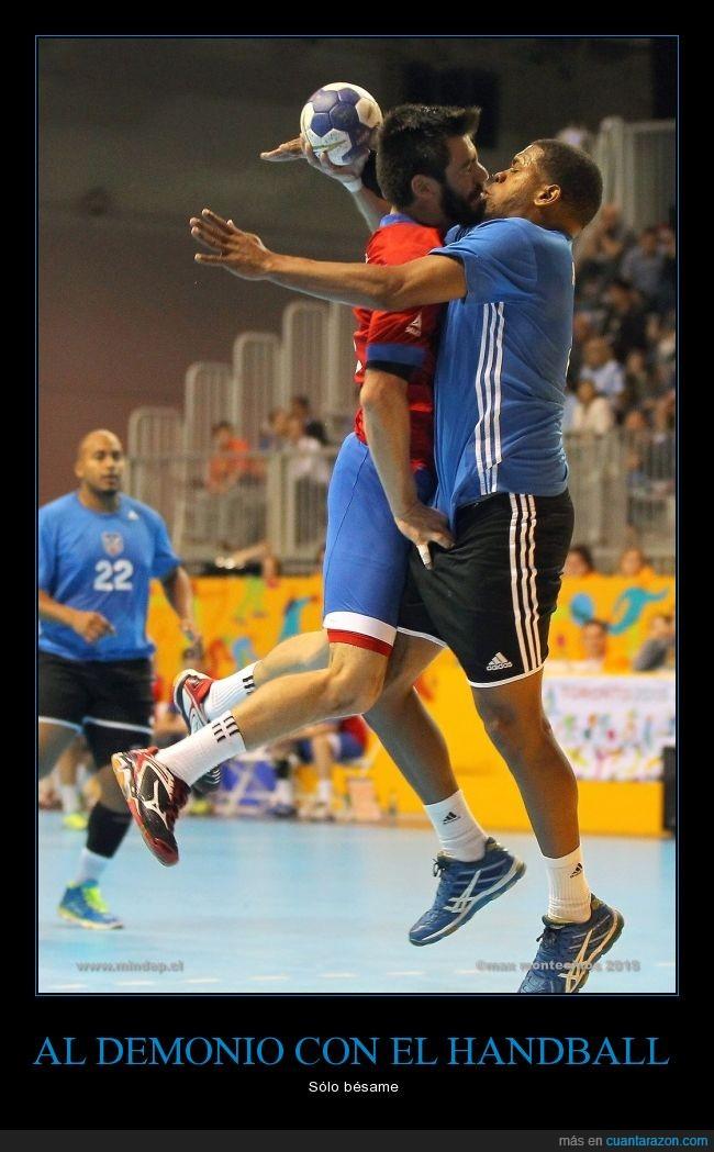 accidente,besar,beso,choque,encuentro,Handball,juego,partido