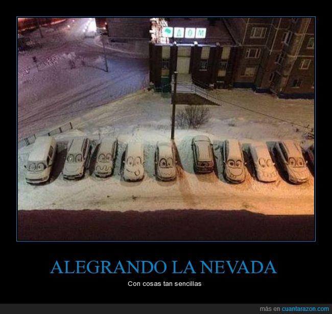 cara,cars,coches,dibujar,feliz,frio,hielo,Nevada,nieve,sonrisa