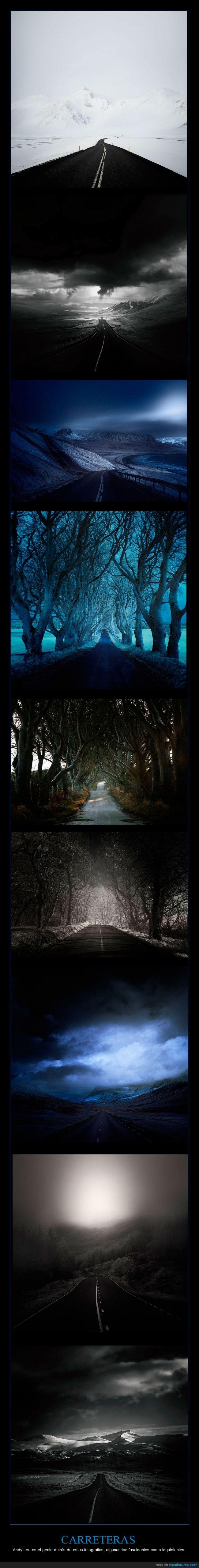 abandonadas,Asfalto,Cámara.,carreteras,fotógrafo,lugares,Nieve,Nubes,paisajes,soledad,terror