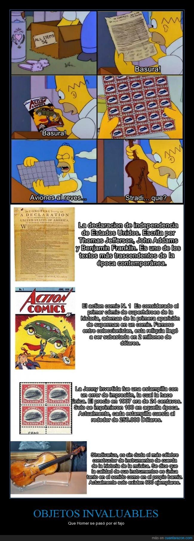 comic,declaracion de independencia,estampillas,Homer,invaluables,inverted jenny,los simpson,objetos,stradivarius,superman,valor,violines