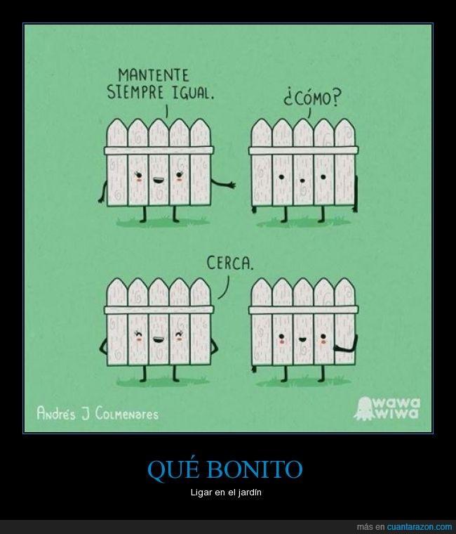 amor,Cerca,comic,jardín,mantener,valla