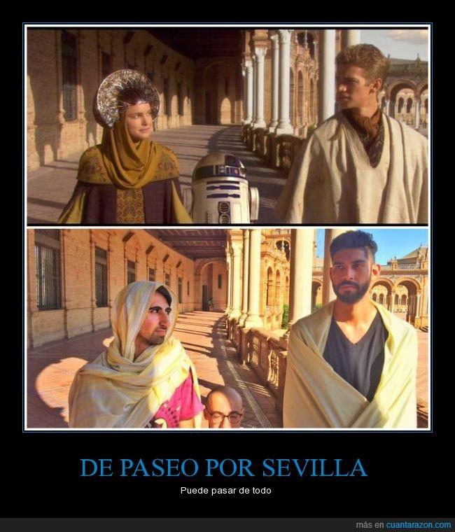 amidala,Anakin Skywalker,Hayden Christensen,jedi,NAtalie Portman,padme,plaza de España,r2d2,reinterpretacion,Sevilla,Star Wars
